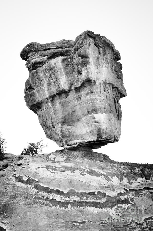 Balanced Rock In Black And White Photograph