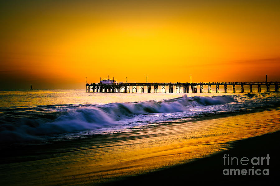 America Photograph - Balboa Pier Picture At Sunset In Orange County California by Paul Velgos
