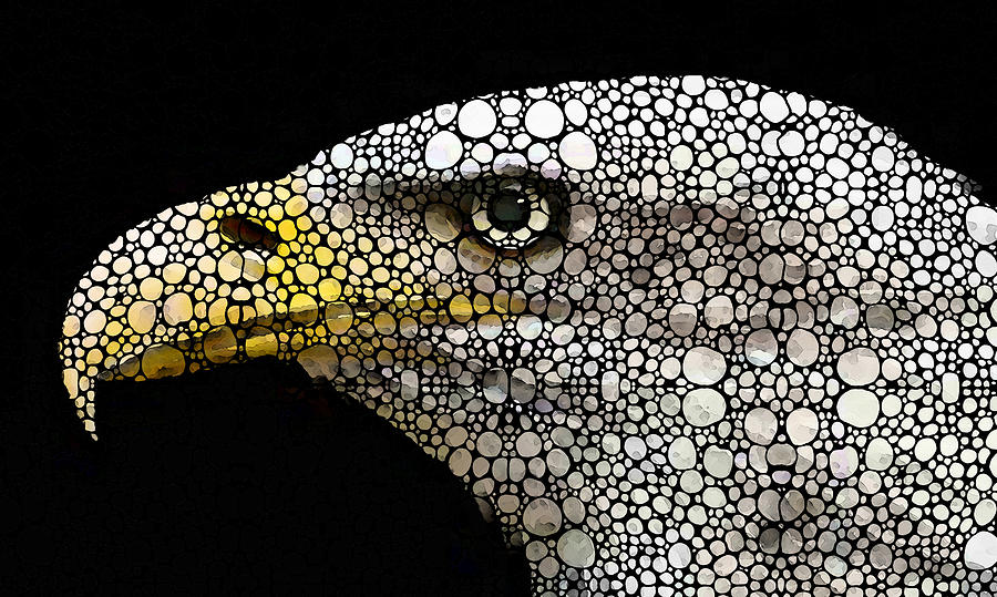 Bald Eagle Art - Eagle Eye - Stone Rockd Art Painting  - Bald Eagle Art - Eagle Eye - Stone Rockd Art Fine Art Print