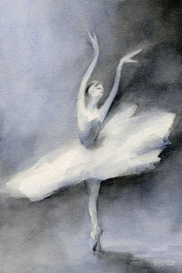 Ballerina In White Tutu Watercolor Painting Painting