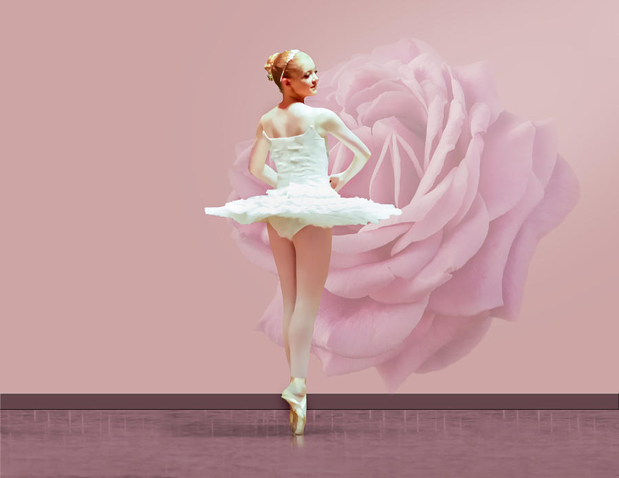 Ballerina In White With Pink Rose  Photograph  - Ballerina In White With Pink Rose  Fine Art Print