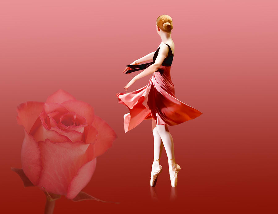 Ballerina On Pointe With Red Rose  Photograph