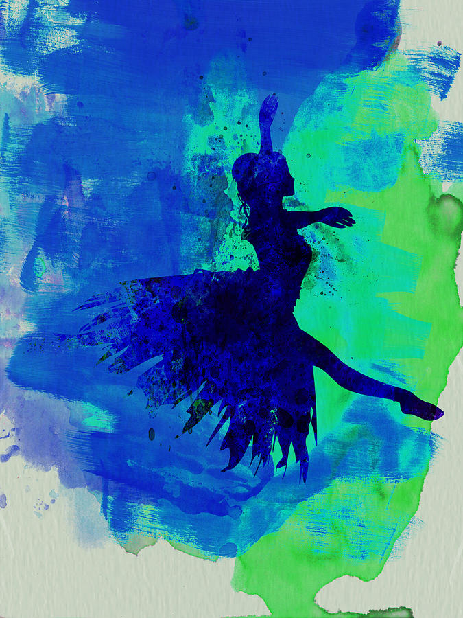 Ballet Painting - Ballerina On Stage Watercolor 5 by Naxart Studio