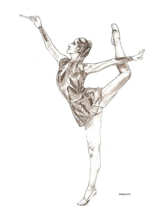 Ballet A Pencil Study In Black And White Drawing  - Ballet A Pencil Study In Black And White Fine Art Print