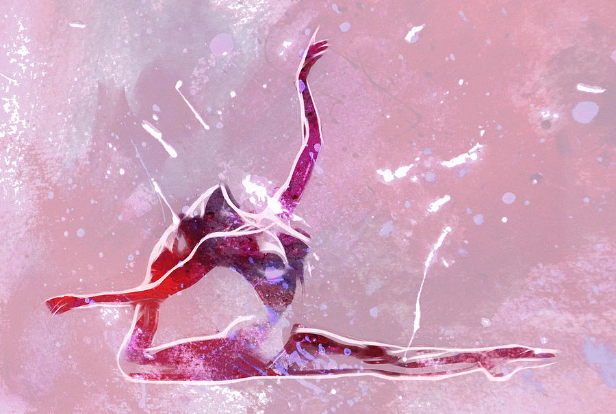 Ballet Dancer Dancing Ballerina Nude Naked Erotic Boobs Abstract Expresionism Impressionism Color Colorful Female Woman Girl Art Painting - Ballet Art by Stefan Kuhn