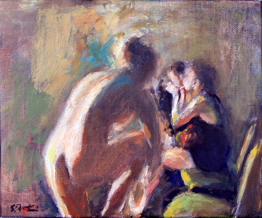 Ballet Dancers Backstage Painting  - Ballet Dancers Backstage Fine Art Print