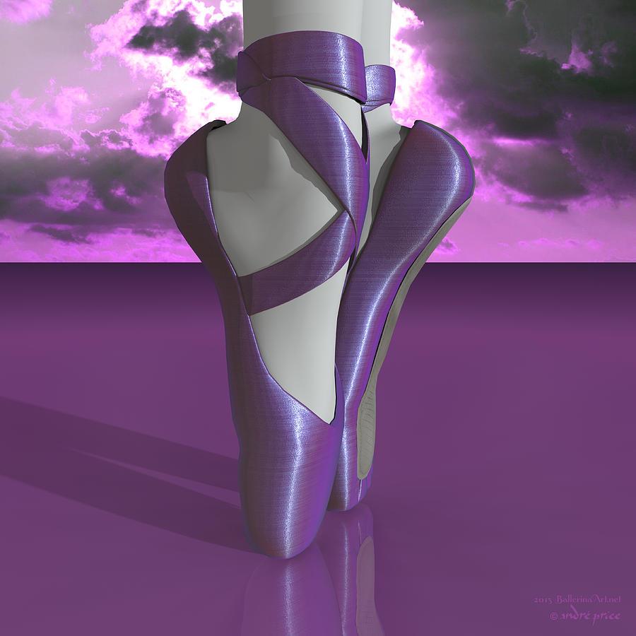 Ballet Toe Shoes Over Colorful Lavender Clouds Digital Art ...
