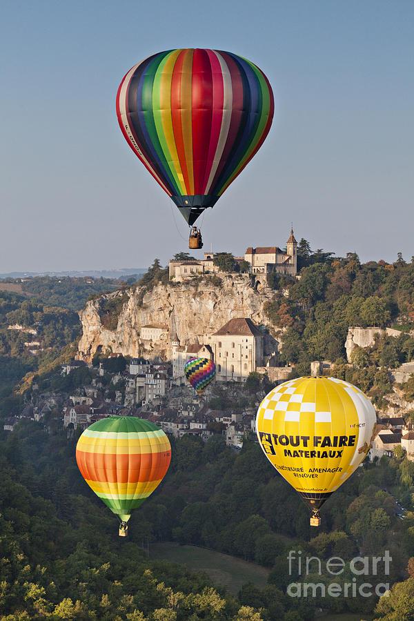 Balloons Photograph - Balloons At Rocamadour Midi Pyrenees France by Colin and Linda McKie