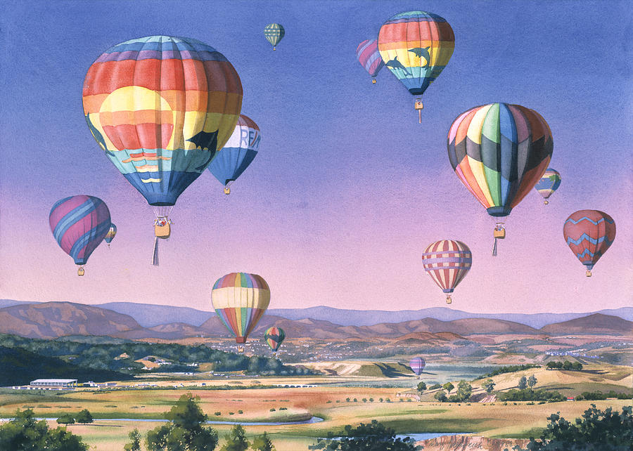 Balloons Painting - Balloons Over San Dieguito by Mary Helmreich