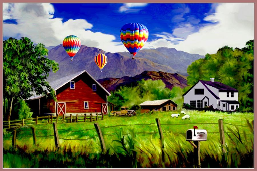 Balloons Over The Ranch Digital Art