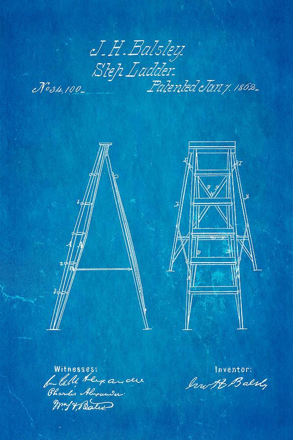 Balsley Step Ladder Patent Art 1862 Blueprint Photograph