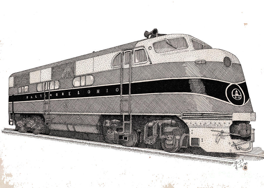 Baltimore And Ohio Diesel Engine Drawing  - Baltimore And Ohio Diesel Engine Fine Art Print