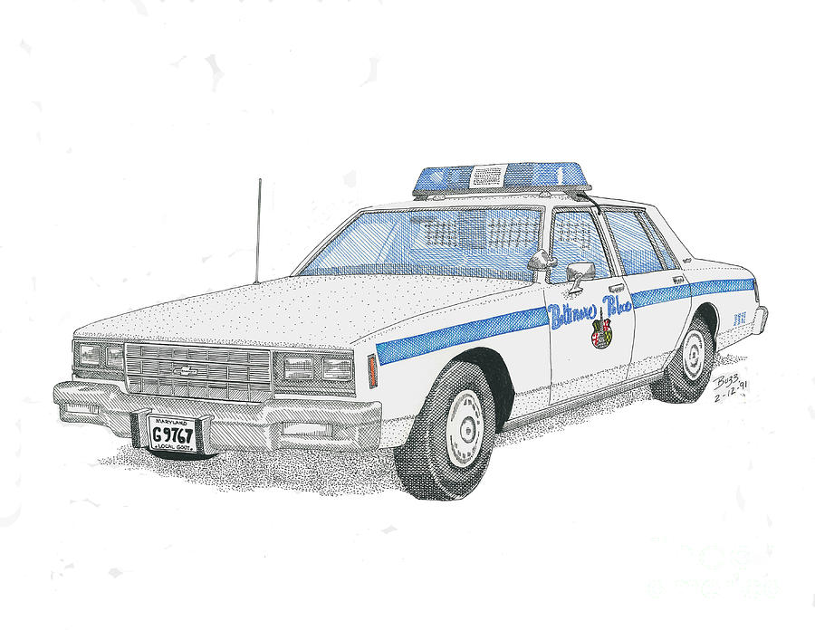 Baltimore City Police Cruiser Drawing  - Baltimore City Police Cruiser Fine Art Print