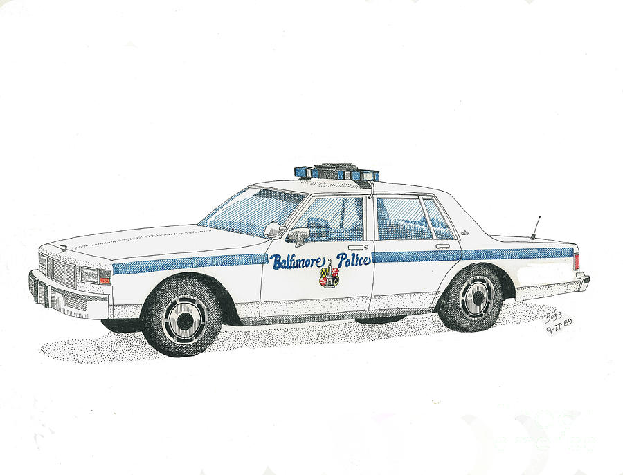 Baltimore City Police Vehicle Drawing  - Baltimore City Police Vehicle Fine Art Print