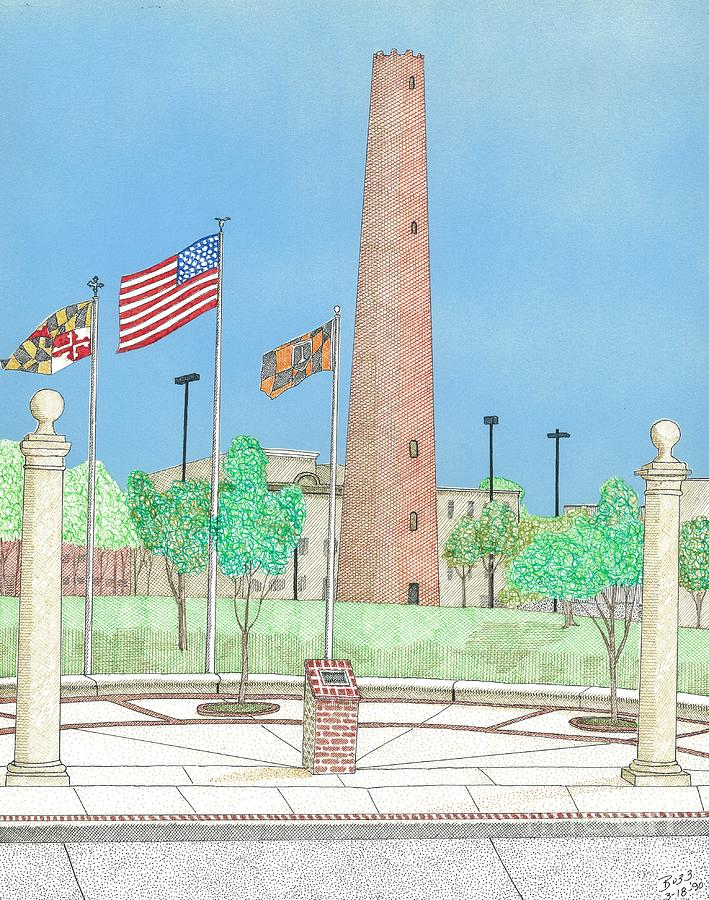 Baltimore Shot Tower Drawing  - Baltimore Shot Tower Fine Art Print