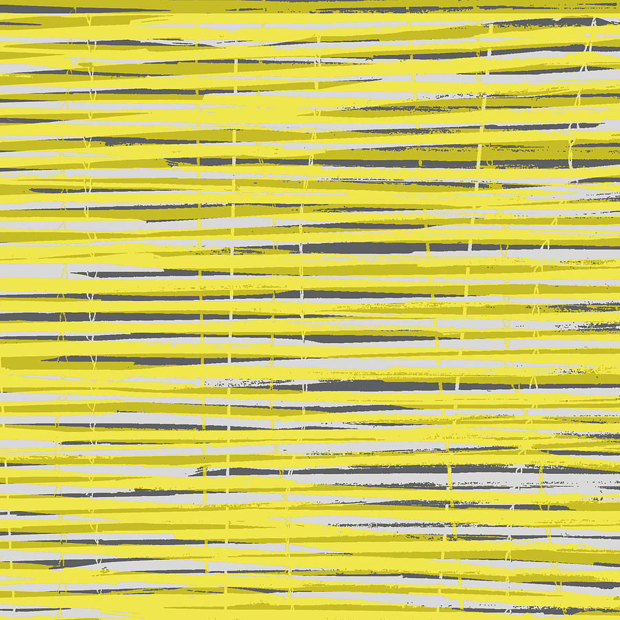 Bamboo Fence - Yellow And Gray Digital Art