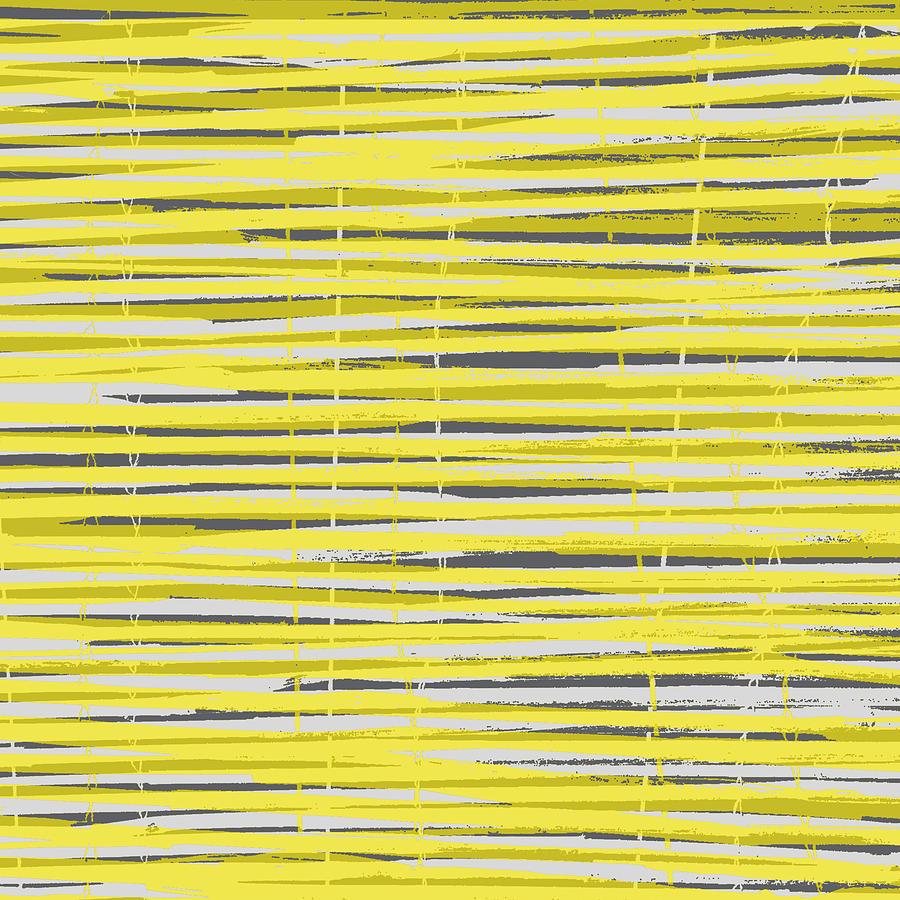 Pattern Digital Art - Bamboo Fence - Yellow And Gray by Saya Studios