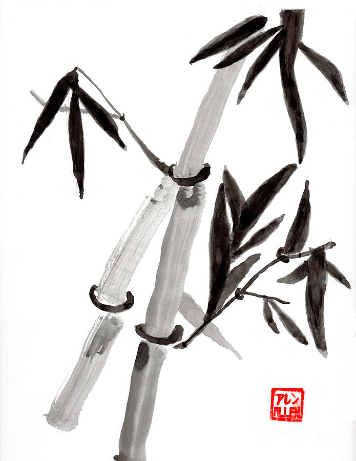 Bamboo In Black And White Chinese Watercolor Painting ...