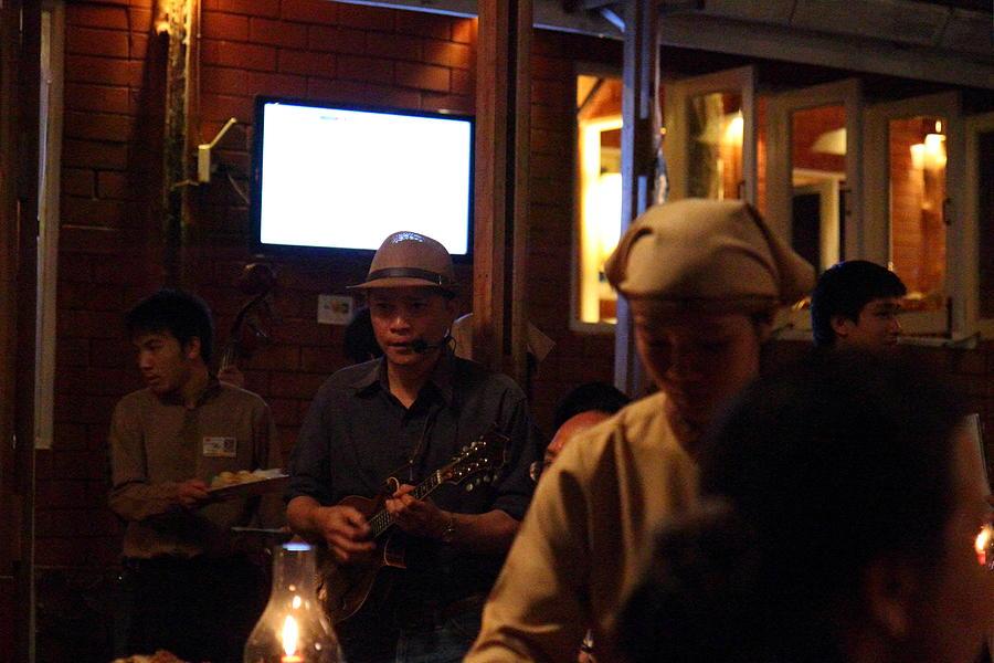 Band At Palaad Tawanron Restaurant - Chiang Mai Thailand - 01134 Photograph