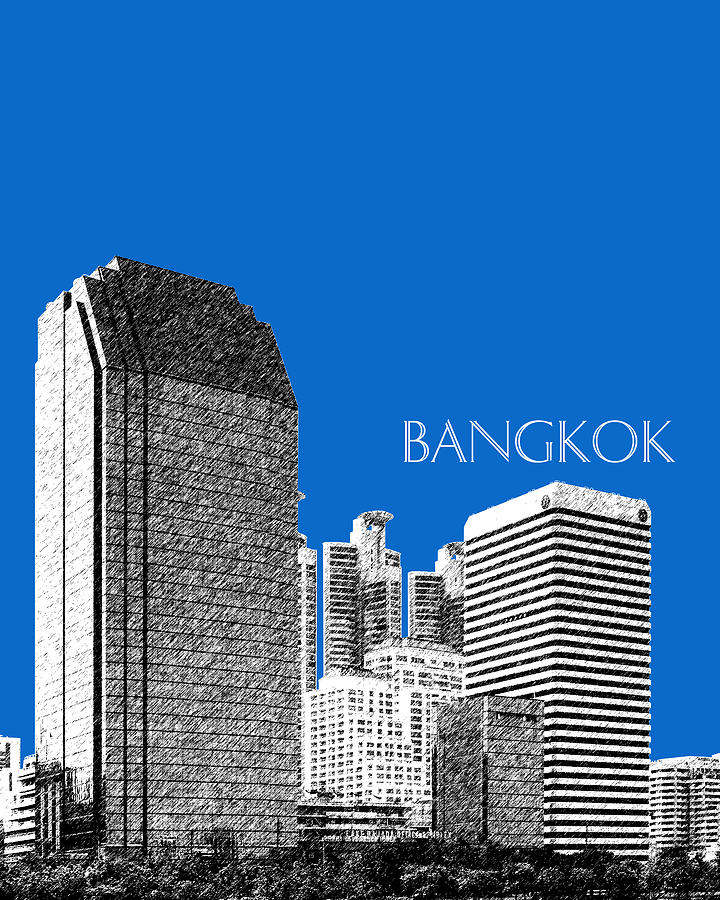 Bangkok Thailand Skyline 2 - Blue Digital Art