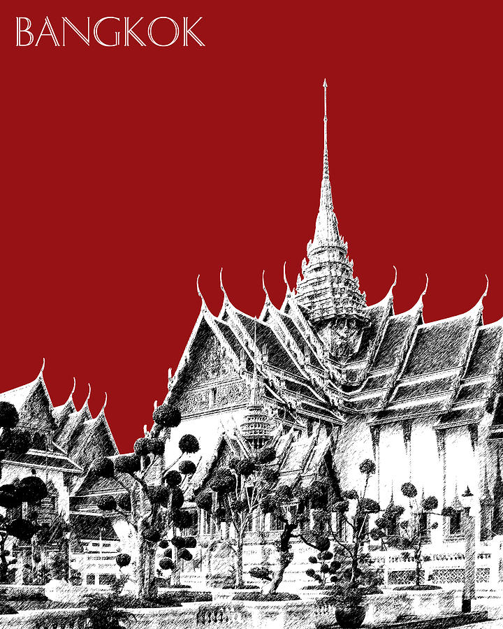 Architecture Digital Art - Bangkok Thailand Skyline Grand Palace - Dark Red by DB Artist