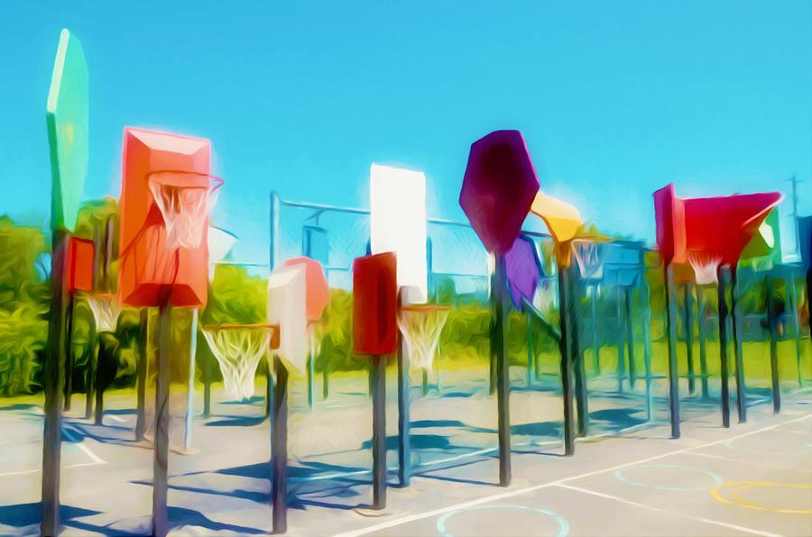 Bankshot Basketball  Painting - Bankshot Basketball 2 by Lanjee Chee