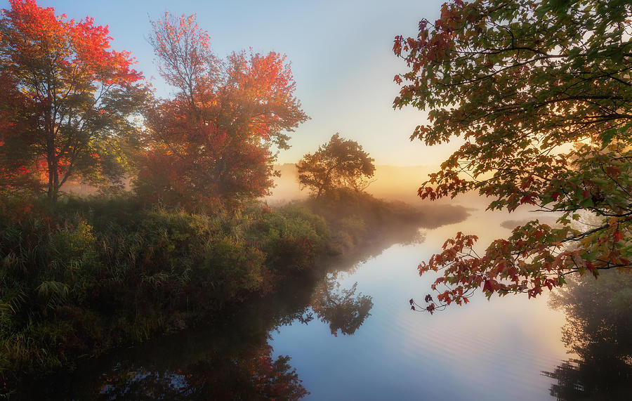 Smooth Water Photograph - Bantam River Sunrise by Bill Wakeley