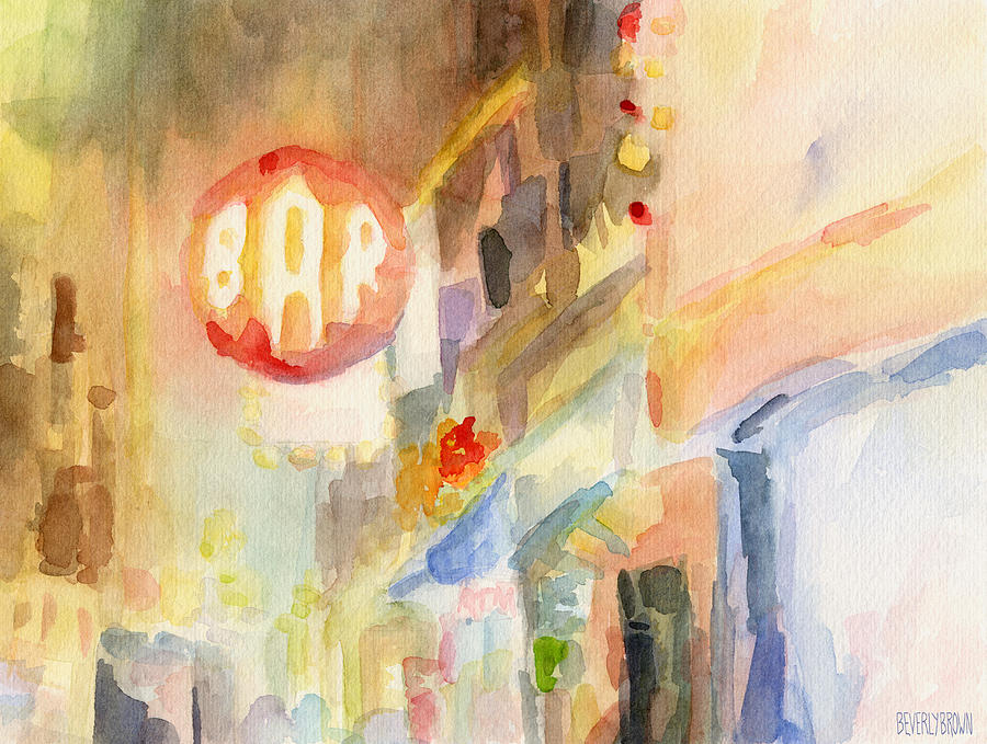 Bar 8th Avenue Watercolor Painting Of New York Painting