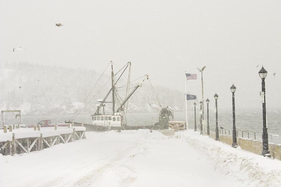 Bar harbor snowstorm and fishing boat mount desert island for Desert island fishing