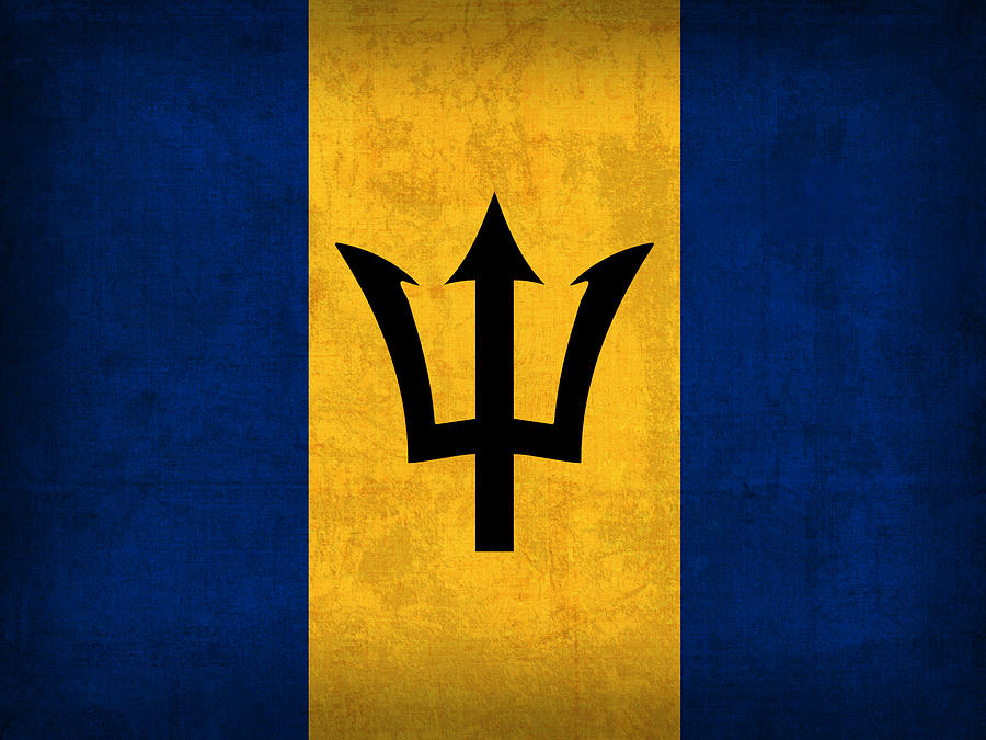 Barbados Flag Vintage Distressed Finish Mixed Media by Design Turnpike