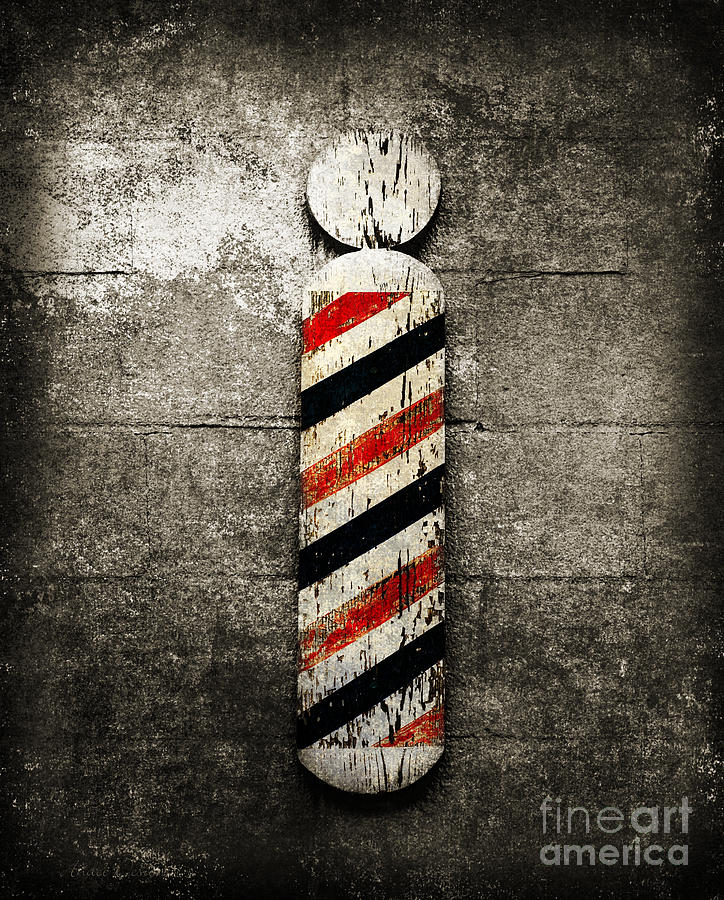 Barber Pole Selective Color Photograph