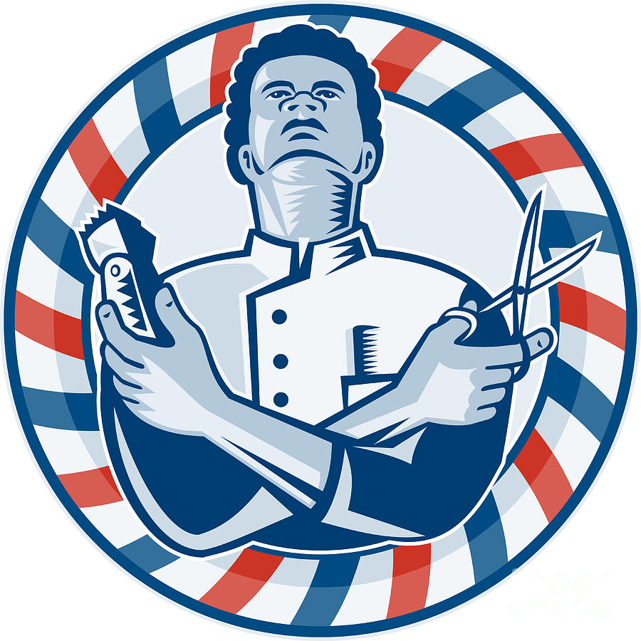 Barber With Pole Hair Clipper And Scissors Retro Digital Art