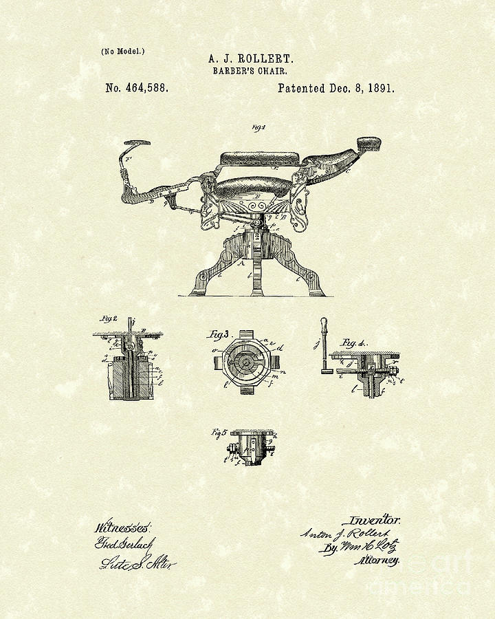 Barbers Chair 1891 Patent Art Drawing  - Barbers Chair 1891 Patent Art Fine Art Print