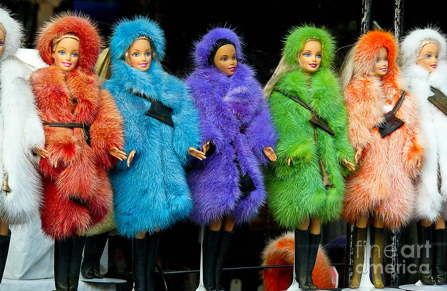 Barbie Dolls In Colored Fur Coats Photograph