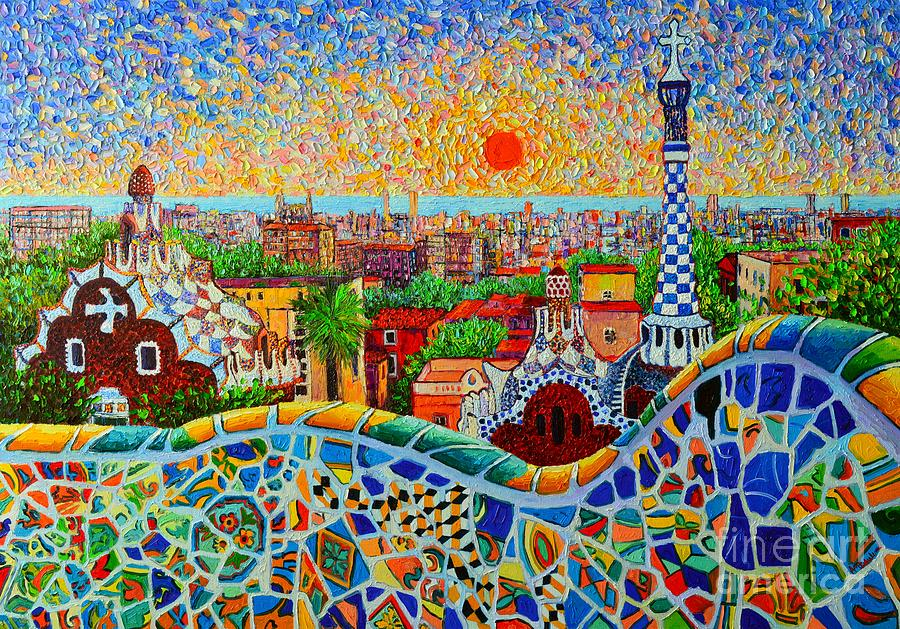 Barcelona View At Sunrise - Park Guell  Of Gaudi Painting