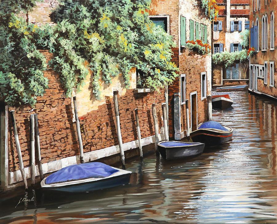 Landscape Painting - Barche A Venezia by Guido Borelli