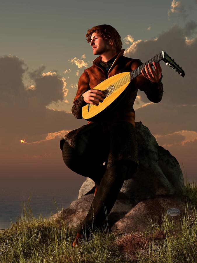 Bard With Lute Digital Art