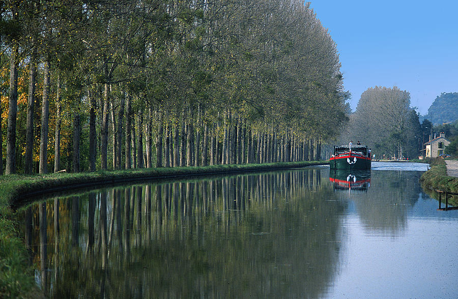 Trees Photograph - Barge On Burgandy Canal by Carl Purcell