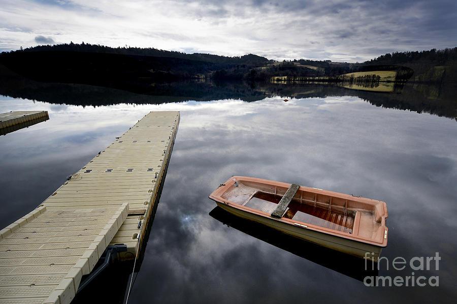Horizontal Photograph - Bark On A Lake In Auvergne. France by Bernard Jaubert