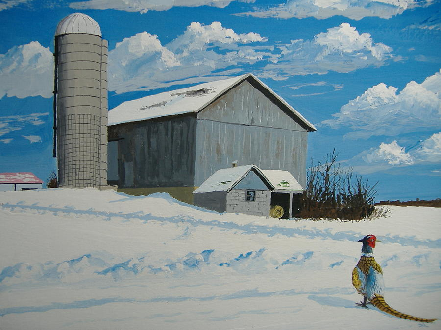 Barn And Pheasant Painting
