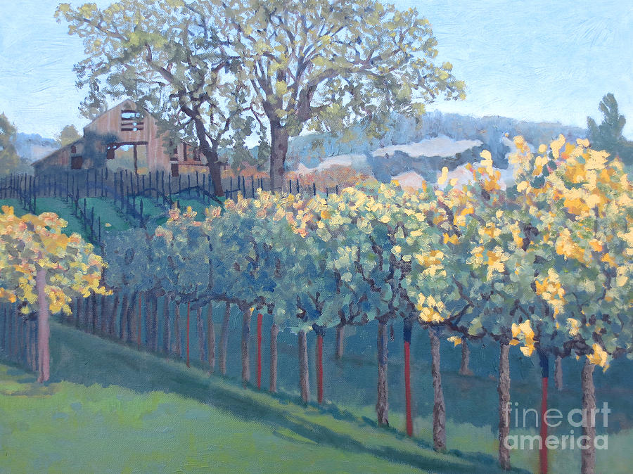 Barn Facade In Vineyard Painting