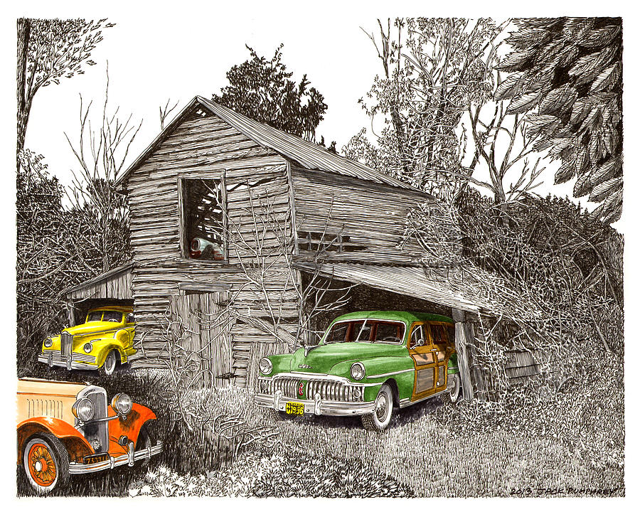 Barn Finds Classic Cars Painting  - Barn Finds Classic Cars Fine Art Print