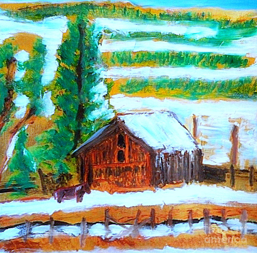 Barn Near Loa Utah 1 Painting  - Barn Near Loa Utah 1 Fine Art Print