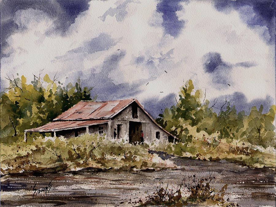Barn Under Puffy Clouds Painting