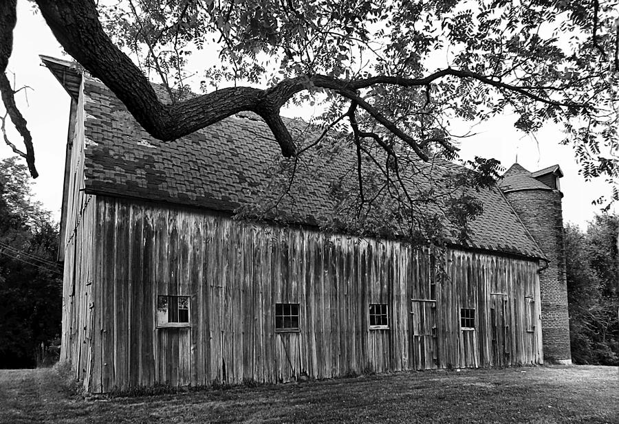 Barn With Brick Silo In Black And White Photograph