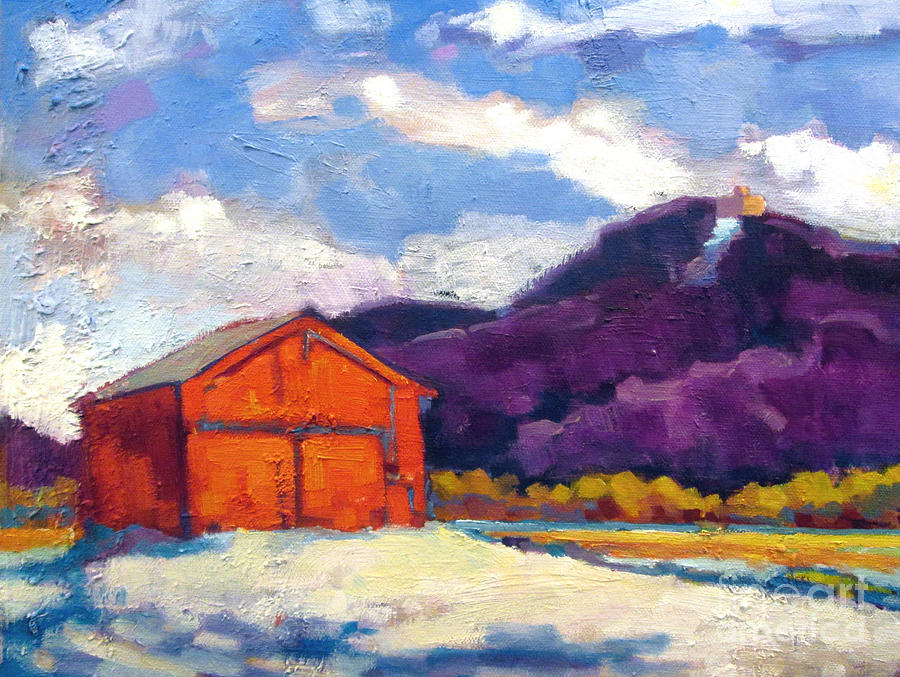 Barn With Skinner House Painting  - Barn With Skinner House Fine Art Print