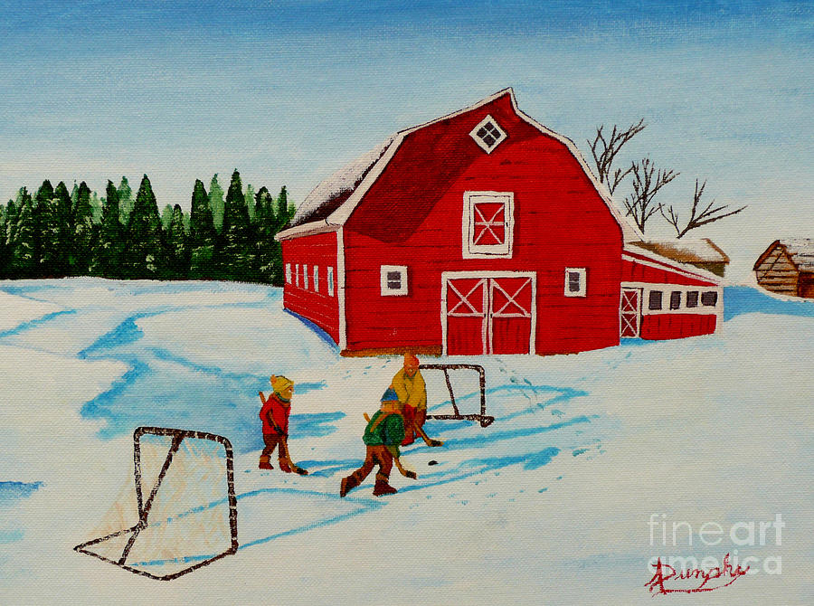 Hockey Painting - Barn Yard Hockey by Anthony Dunphy