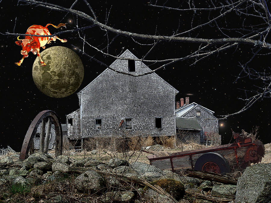 Nighttime Digital Art - Barnyard Games by Donna Lee Young