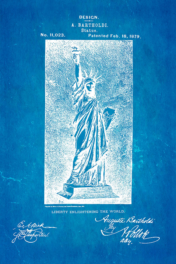 Bartholdi Statue Of Liberty Patent Art 1879 Blueprint Photograph