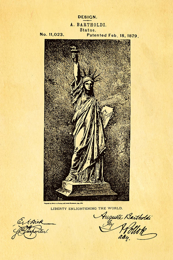 Bartholdi Statue Of Liberty Patent Art 1879 Photograph
